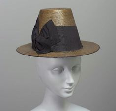 Woman's Conical Straw Hat with Wide Grosgrain Ribbon, 1880s.
