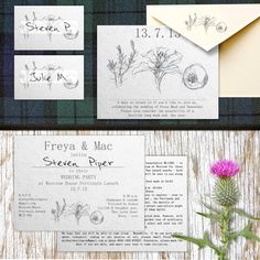 Pencil drawn design for a  Scottish wedding.  Created by www.invitedto.co.uk