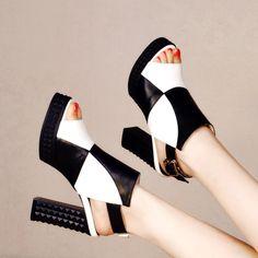 Shoespie Chic Color Block Backless Platform Heels