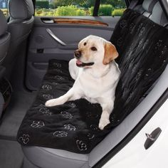 $54.99 Black & Gray Pawprint Car Seat Cover for Dogs - Pawprint Car Seat Covers give dogs a comfy place to rest during trips in the car.     Easy care micro suede design features a cute embroidered paw print pattern and attachment straps for a secure fit.    - Soft and comfy seat covers with embroidered pawprints protect upholstery from dirt, pet hair and scratches    - Fits most back seats and boasts  ...