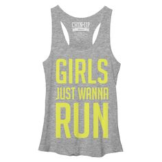 CHIN UP Women's - Girls Just Wanna Run Racerback Tank #run #running #runner