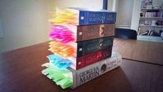 Someone put a post-it at every death in the Game of Thrones books. << I don't read Game of Thrones, but this is so ridiculous it's hilarious Game Of Thrones Books, Game Of Thrones Series, Game Thrones, Game Of Thrones Facts, George Rr Martin, Mr Martin, Game Of Trone, Gaming, My Sun And Stars