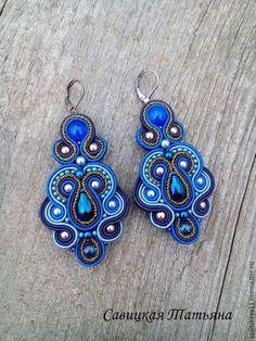 Photo from soutache_savitskaya_tatyana Macrame Earrings Tutorial, Soutache Tutorial, Earring Tutorial, Soutache Necklace, Beaded Earrings, Beaded Jewelry, Quilling Jewelry, Beautiful Earrings, Bead Crafts