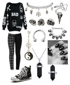 """""""Bad"""" by xfallencreature ❤ liked on Polyvore featuring Wet Seal, Pamela Love, Topshop and Bling Jewelry"""