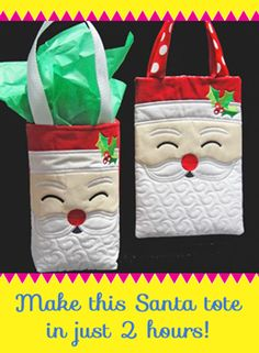 Machine Embroidery Projects Santa Tote or Gift Bag Embroidery Article - Versatile, beautifully quilted, lined and fun to make Santa Tote. Just a few extra stitches at your sewing machine can turn this cute Santa Tote into a small gift bag. Christmas Sewing, Christmas Embroidery, Noel Christmas, Christmas Projects, Xmas, Machine Embroidery Projects, Quilting Projects, Sewing Projects, Small Gift Bags