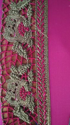Zardosi Embroidery, Embroidery Dress, Beaded Embroidery, South Indian Blouse Designs, Bridal Blouse Designs, Raw Silk Fabric, Indian Fabric, Hand Embroidery Videos, Hand Embroidery Designs