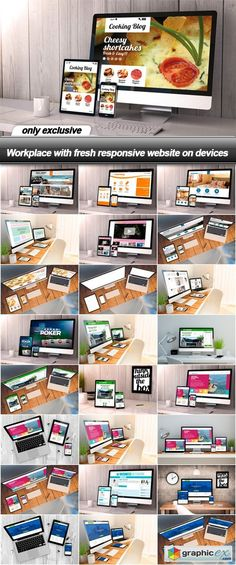 Workplace with fresh responsive website on devices  25 UHQ JPEG  stock images