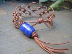 Lacy Brown Macramé Bracelet with a Touch of Blue by JVossDesigns, $21.99