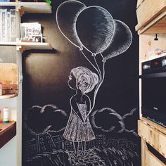 Крошка для крошки М #girl #home #childhood #chalk #chalkboard #chalkart #chalkwall