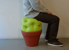 Cactus seat. No spikes but still a neat idea. Wish it had spikes, even if they were soft. Well, they would have to be (I guess) unless you don't want people over.