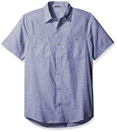 IZOD Men's Saltwater Dockside Chambray Solid Short Sleeve Shirt, Twilight Blue, Large