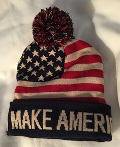 a34d0eff2e0 2 TRUMP BEANIE MAGA MAKE AMERICA GREAT AGAIN SKI CAP HAT STARS STRIPES USA  FLAG Trump