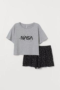 Pyjama top and shorts - Grey marl/NASA - Cute Pajama Sets, Cute Pjs, Cute Pajamas, Pajama Top, Pajama Shorts, Comfy Pajamas, Yoga Shorts, Teen Fashion Outfits, Girl Outfits