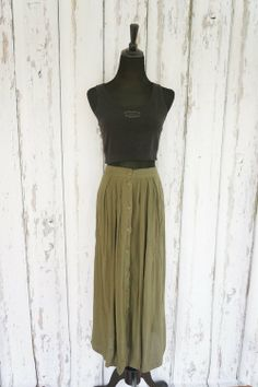 Boho Chic Olive Buttoned Maxi Skirt - $24 with a black crop top also ...