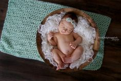 1 pale mint green chabby chic rose newborn by pinkladybuggirl, $5.00