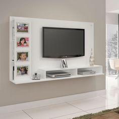 Painel para TV até 60 Polegadas Sabiá Branco Bedroom Tv Unit Design, Tv Unit Furniture Design, Tv Unit Interior Design, Living Room Tv Unit Designs, Tv Wall Design, Tv In Bedroom, House Design, Diy Furniture, Tv Unit Decor