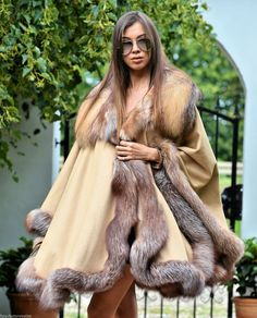 REAL CASHMERE &FOX FUR. SILVER FOX IN BEIGE COLOR. PONCHO IS COVER HIPS - LOOKS FANTASTIC. THIS IS THE LONGES PONCHO ON THE MARKET ! FANTASTIC LONG PONCHO. MADE OF HIGHEST QUALITY SKINS ON THE MARKET. | eBay!