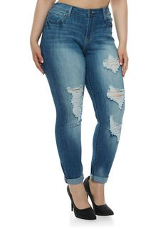 b6218c50387e2 Plus Size Distressed Skinny Jeans