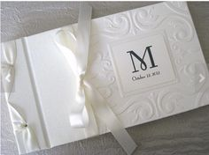 Monogram Ivory Wedding Guest Book Photo Al Custom By Daisyblu