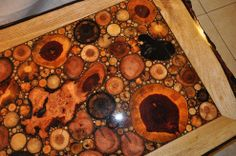 Wow! Rustic wood rounds make a stunning coffee table top.