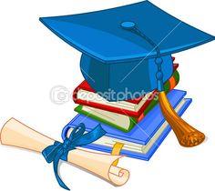 Diplôme et chapeau de graduation — Illustration #5468701