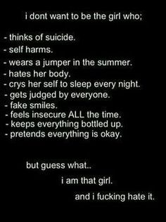 Depressing Quotes  :depressed depression sad suicide eating disorder alone cut cutting reblog disorder cutt             1gn1te