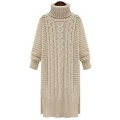 SheIn(sheinside) White High Neck Cable Knit Split Sweater Dress (2.250 RUB) ❤ liked on Polyvore featuring dresses, abbigliamento, white, shift dress, long-sleeve maxi dress, white long-sleeve dresses, knee-length dresses and white long sleeve dress