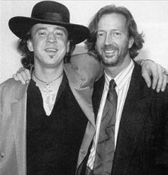 Stevie Ray Vaughan & Eric Clapton We burried my dad in his Stevie Ray Vaughn Tee shirt Stevie Ray Vaughan, Eric Clapton, Jazz Blues, Blues Music, Blues Rock, Music Icon, My Music, Reggae Music, We Will Rock You
