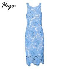 Barato Hego 2016 nova Lace bordado Floral sem mangas vestido de verão BJ04026, Compro Qualidade Vestidos diretamente de fornecedores da China:                Por favor, permita 2-3 cm diferença                S, comprimento: 90 cm, busto: 74-80