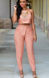 Stylish Spaghetti Strap Slit Tank Top + High-Waisted Solid Color Pants Women's Twinset - Orangepink One Size(fit Size Xs To M) Sexy Dresses, Nice Dresses, Fashion Pants, Fashion Outfits, Two Piece Pants Set, Pants For Women, Clothes For Women, Women's Clothes, Clothes Sale