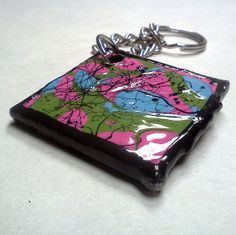 Black, Pink, Green and Blue Splatter art Keychain Pink Blue, Blue Green, Splatter Art, Etsy Store, Sunglasses Case, Coin Purse, Husband, Wallet, Purses