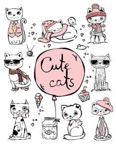 So cute cats...  #cat #cute #illustration #art #kitty #vector