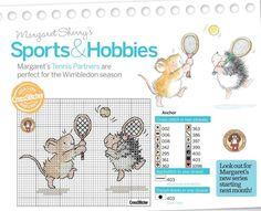 Borduurpatroon, borduren, muizen, tennis (Margaret Sherry)
