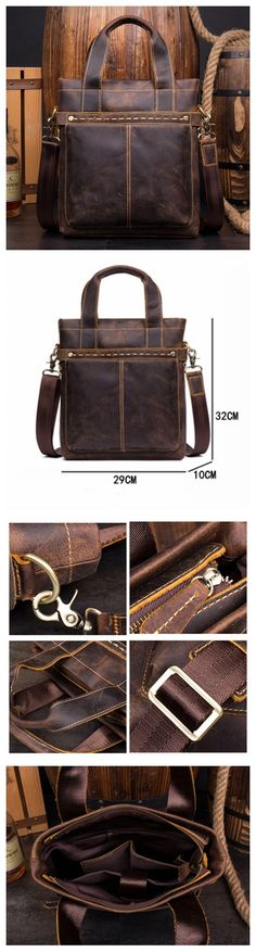 Leather Crossbody Messenger Bag, Leather Shoulder Bag for Men MS063