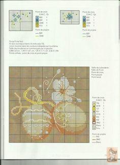 0 point de croix grille et couleurs de fils oeufs