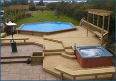An #abovegroundpool on one end and a #spa on the other. We love this idea! #poolsoftupelo