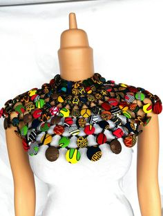 african print dresses DZIGDORDI 2 necklace is made with carefully selected African prints and beads and a durable lace strap at the back, made with every detail in mind , perfect African Print Dresses, African Print Fashion, Africa Fashion, African Fashion Dresses, African Dress, Fashion Prints, African Prints, Ankara Fashion, Tribal Fashion