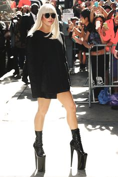 Lady Gaga (Seriously, how is she able to walk in those shoes! Although... she's able to have people carry her around.)
