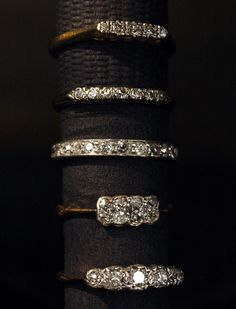 Some Diamond Bands:  1920s Five Diamond Ring, 18K Yellow, Platinum, (sold)1930s Seven Diamond Ring, 14K Yellow/White, (sold)1960s Platinum Band with 12 Old Cut Diamonds, (sold)1920s Eight Diamond 2 Row Ring, 18K, Platinum, (sold)1940s Five Diamond Ring, 18K, Platinum, (sold)