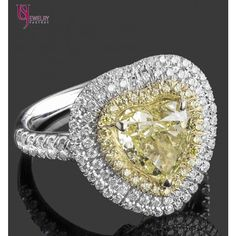 3.57ct Heart Shaped Natural Fancy Yellow Diamond Triple  Halo Engagement Ring