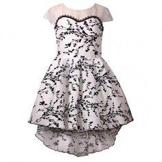 1d5e930ef4e Bonnie Jean Big Girls Black White Tree Branch Print Hi-Low Christmas Dress  7-