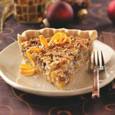 Ambrosia Pecan Pie recipe: Orange peel and coconut combine with pecans to make this a truly special and rich-tasting dessert. It always wins compliments at Christmas dinner. Just Desserts, Delicious Desserts, Yummy Food, Southern Desserts, Dessert Healthy, Pie Recipes, Dessert Recipes, Cooking Recipes, Cooking Tips