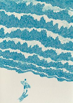 woodcut waves