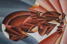 Fortunato Depero (1892-1960), Neighing at Speed, 1932