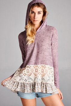 ODDI 'Beach Angel' Hoodie - This lightweight, long sleeve hoodie is the perfect transition into spring! The top features a delicate lace hem with a contrast floral print ruffle at the bottom. One of our softest and prettiest tops to wear. You'll feel like a beach angel in this oatmeal colored very feminine hoodie! Available in Lilac. By Oddi.