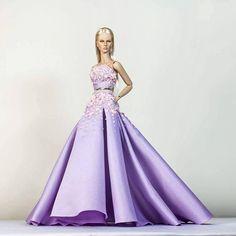 Lavender    DeMuse Doll by Nigel Chia    #demusedolls #doll #dollstagram #fashiondoll #fashiondesigner #fashion #gown #redcarpet #highfashiondoll #eliesaab #lavender #blonde #bjd #barbie #designers #inspiration #instadaily #instalike #beading #embelishment #model #blonde