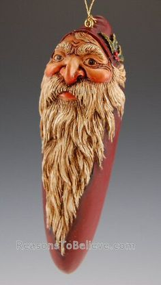 Hand carved and hand painted Santa Claus ornament. Rarely does one find hand crafted, wooden Santa ornaments with so much detail and expression. Each is a unique design, hand carved, hand painted, a Easy Ornaments, Santa Ornaments, Chip Carving, Wood Carving Art, Christmas Time, Christmas Ideas, Merry Christmas, Xmas, Santa Figurines