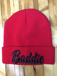 b26f17abad0cc Details about Baddie Beanie Hat Red OS