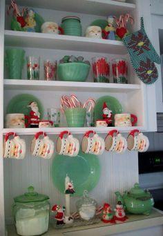 Jadite display   jadeite and santa mugs on display   O Tannenbaum