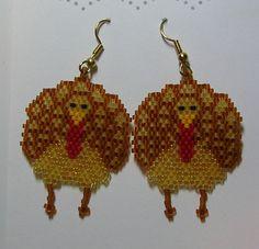 Thanksgiving Turkey Earrings by shamlynn on Etsy